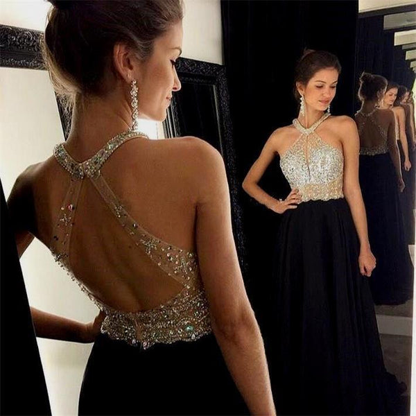 Halt Beaded Black Chiffon Open Back Elegant Formal Prom Dresses, evening dress, party dress, PD0683