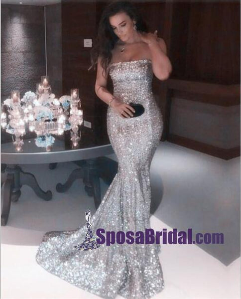 Gold Silver Sequin Sparkly Strapless Sexy Prom Dresses, Formal Mermaid Long Evening Dresses, party dress, PD0720