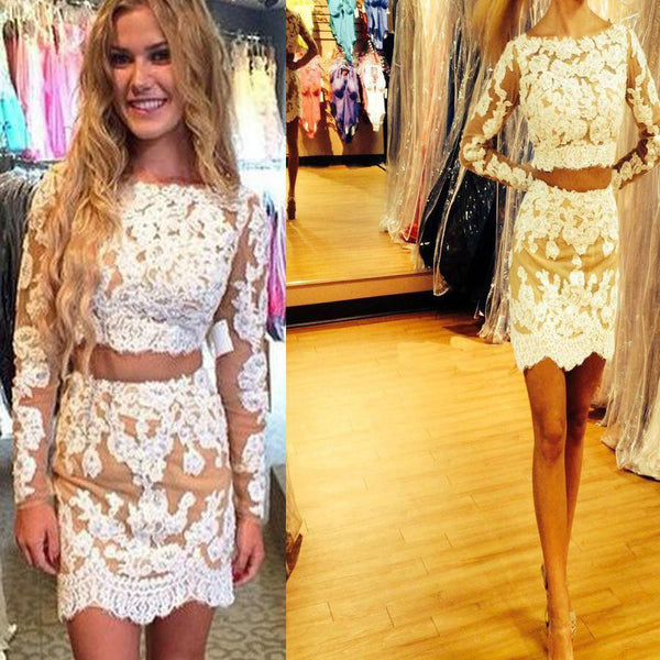 Long sleeve charming  lace two pieces tight cheap homecoming prom dresses, BD00177