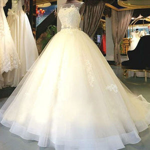 Cheap Popular Stunning Ivory Lace Top A-line Wedding Dresses, Bridal Gown, WD0017