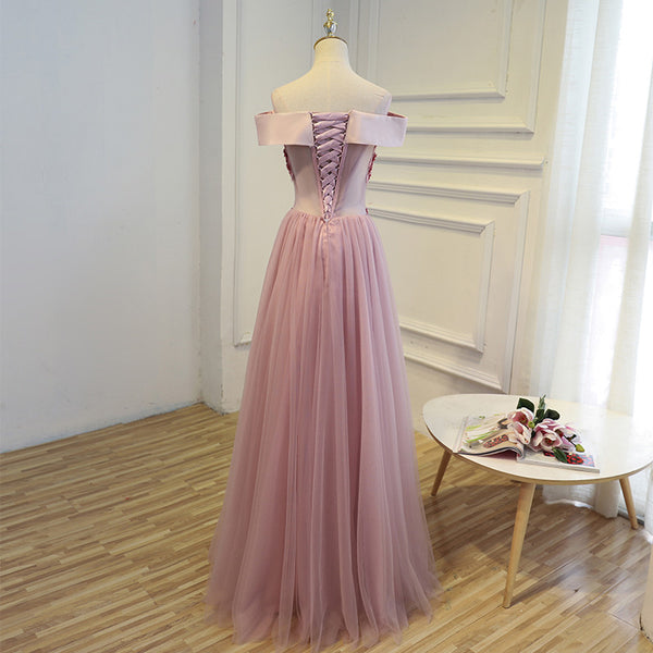 Long Off Shoulder Tulle with Lace Appliques Prom Dresses, Formal Bridesmaid Dresses , PD0347