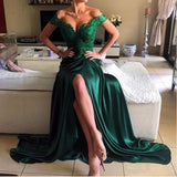 Off Shoulder Green Lace Evening Prom Dresses, Long Slit Prom Dress, Custom Long Cheap Formal Prom Dresses, PD0692