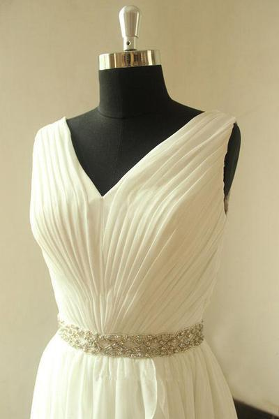Beach Unique Simple Pretty  High Quality Custom Make Wedding Dresses, WD0115 - SposaBridal