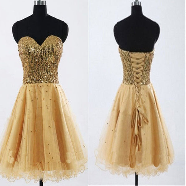 2017 Gold Sequin sweetheart sparkly Rehearsal sweet 16 casual homecoming prom gowns dress,BD00188