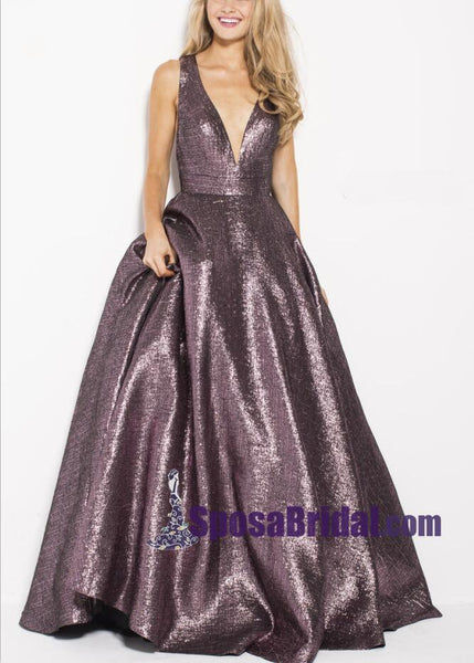 A-Line Long Modest Deep V-Neck Colorful Prom Dresses, Open Back Formal Elegant Most Popular Prom Dress,PD0721 - SposaBridal