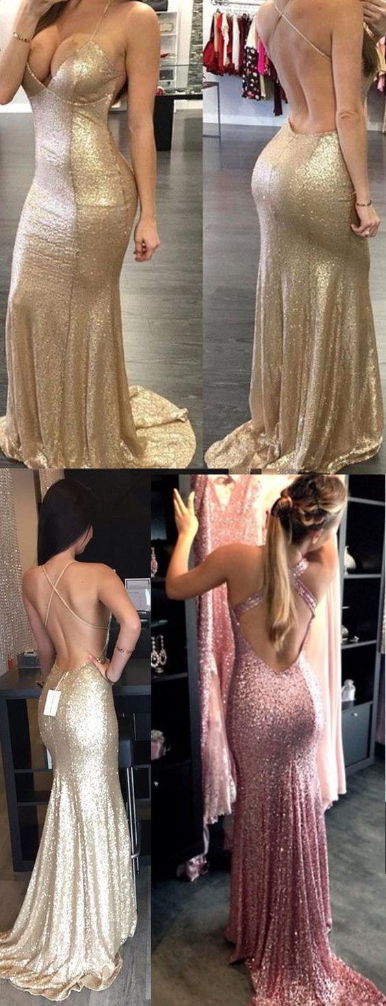 Sexy Backless Halter Mermaid Sequin Bridesmaid Dress Cheap Long Prom Dress Evening Gown, WG23