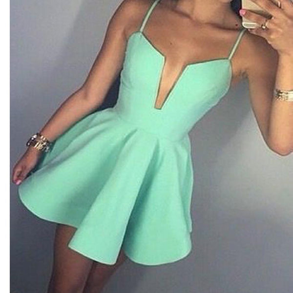 Short Mint Green Spaghetti Straps Simple V-neck A-line freshman homecoming  dresses, BD00190
