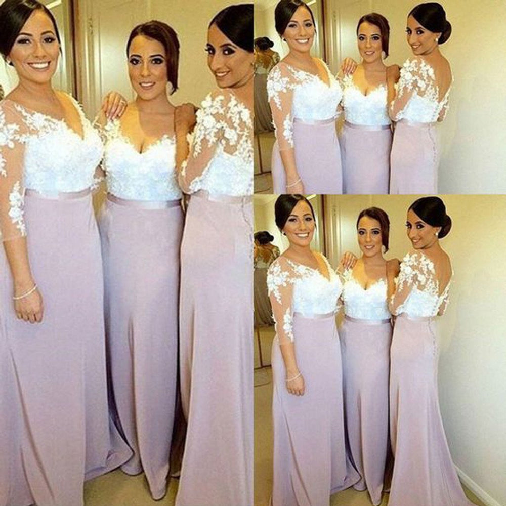 Charming Long Sleeve White Lace Elegant Long Inexpensive Wedding Party Bridesmaid Dresses, WG191 - SposaBridal
