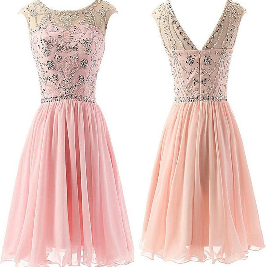 Blush Pink  Chiffon Elegant fashion cute graduation casual party homecoming dresses, BD00194