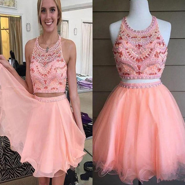 Blush pink two pieces off shoulder sweet  cute graduation homecoming prom dresses, BD00195 - SposaBridal