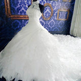 High Neck White Lace Unique Design Custom Wedding Party Dresses, Bridal Gown, WD0019