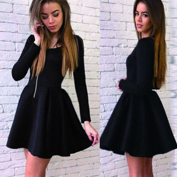 Long sleeve black stain simple graduation freshman harming homecoming prom dress,BD0019