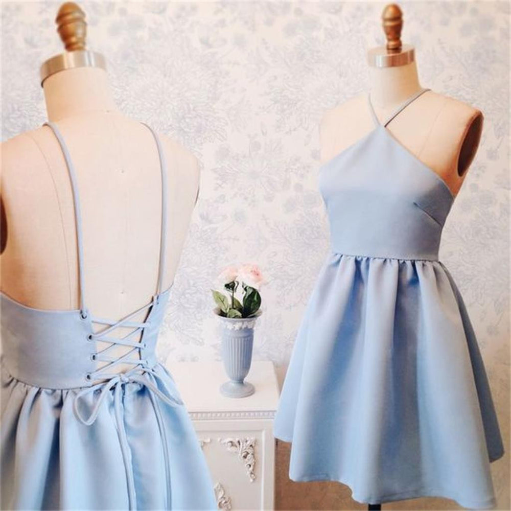 Junior Simple New Blue Halter Homecoming Dress, Short Custom Prom Dresses, PD0351