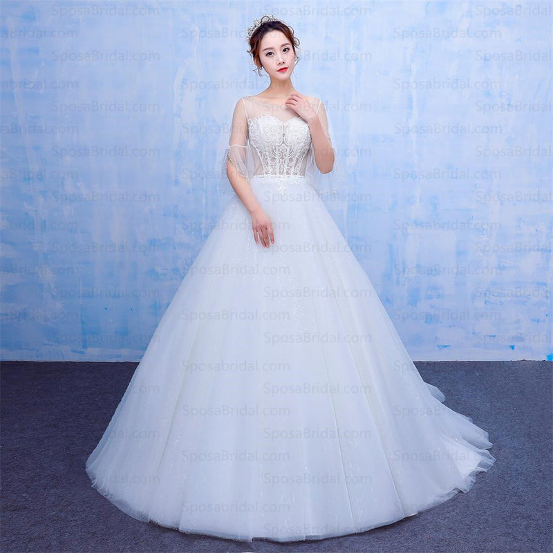 New Design A-line White Top See-Through Half Sleeves Modest Wedding Dresses, WD0220