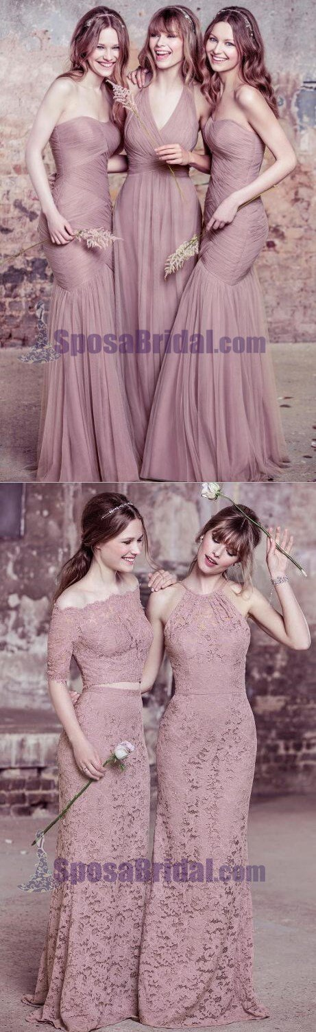 Long Lace Tulle Most Popular Cheap Affordable Custom Made Bridesmaid Dresses , PD0638