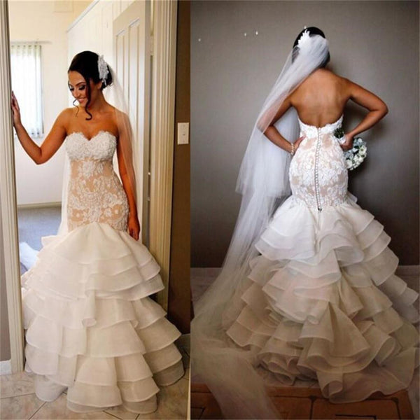 Elegant Lace Tiered Open Back Strapless Mermaid Unique Custom Wedding Dress , PD0228