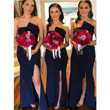 Navy Blue Mermaid Strapless Bridesmaid Dresses WG902