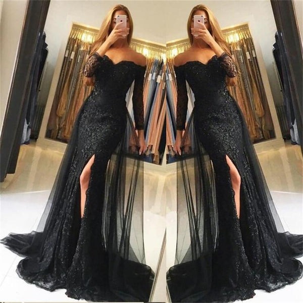 Black Lace Tulle Newest Mermaid Prom Dress, Long Sleeves Prom Dresses, Evening Dress, PD0443 - SposaBridal