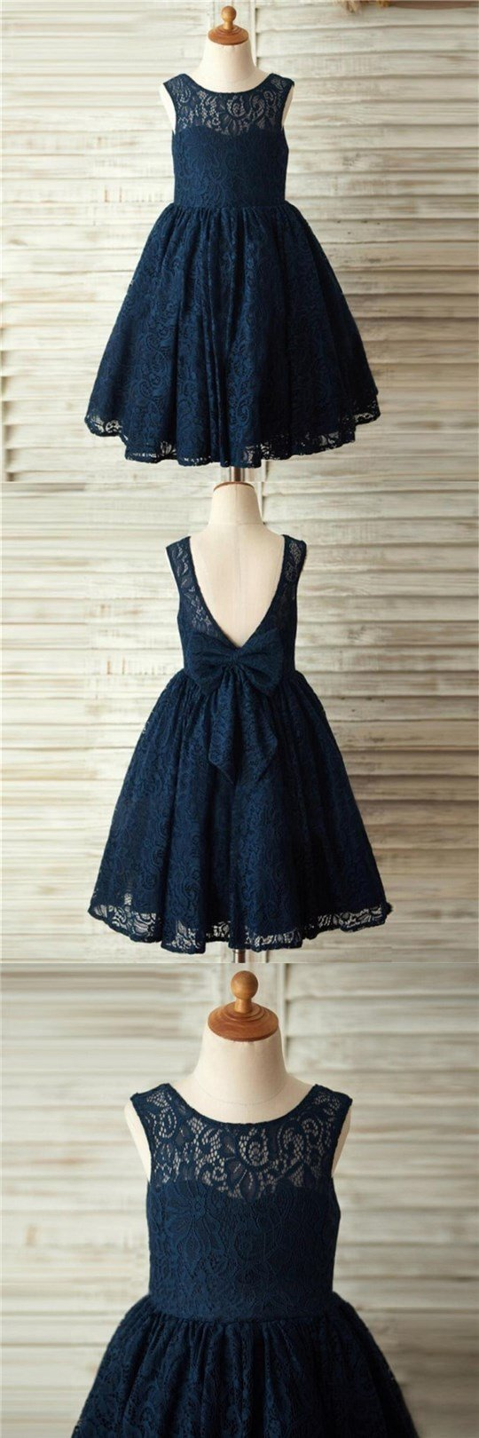 Navy Blue Lace Lovely Cute Flower Girl Dresses with bow , Junior Bridesmaid Dresses, FG084