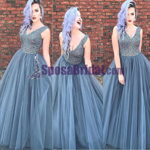 Beaded Top Sparkly Gorgeous Prom Dresses, Long N-Neck Tulle Modest Prom Dress, Cheap Formal Prom Dresses, PD0693