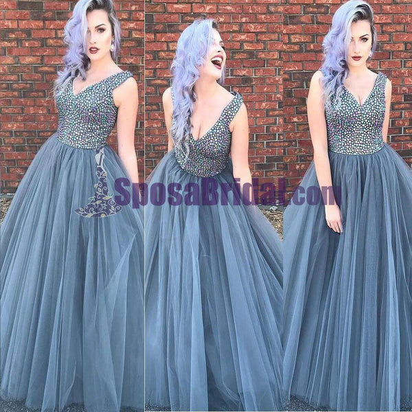Beaded Top Sparkly Gorgeous Prom Dresses, Long N-Neck Tulle Modest Prom Dress, Cheap Formal Prom Dresses, PD0693 - SposaBridal