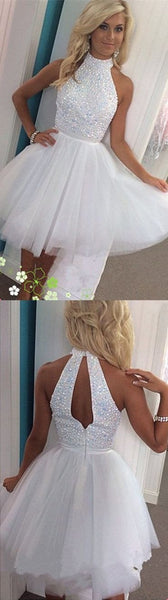 Beading Gorgeous Sparkly Popular Halter Sexy Open back White homecoming prom dresses, CM0005 - SposaBridal