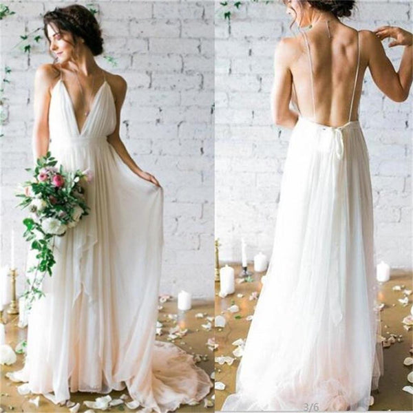 Charming Simple Deep V-neck Beach  backless Most Popular Wedding Dresses, WD0185 - SposaBridal