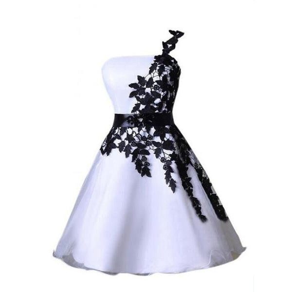 One shoulder black lace Cute short homecoming prom dresses, CM0007