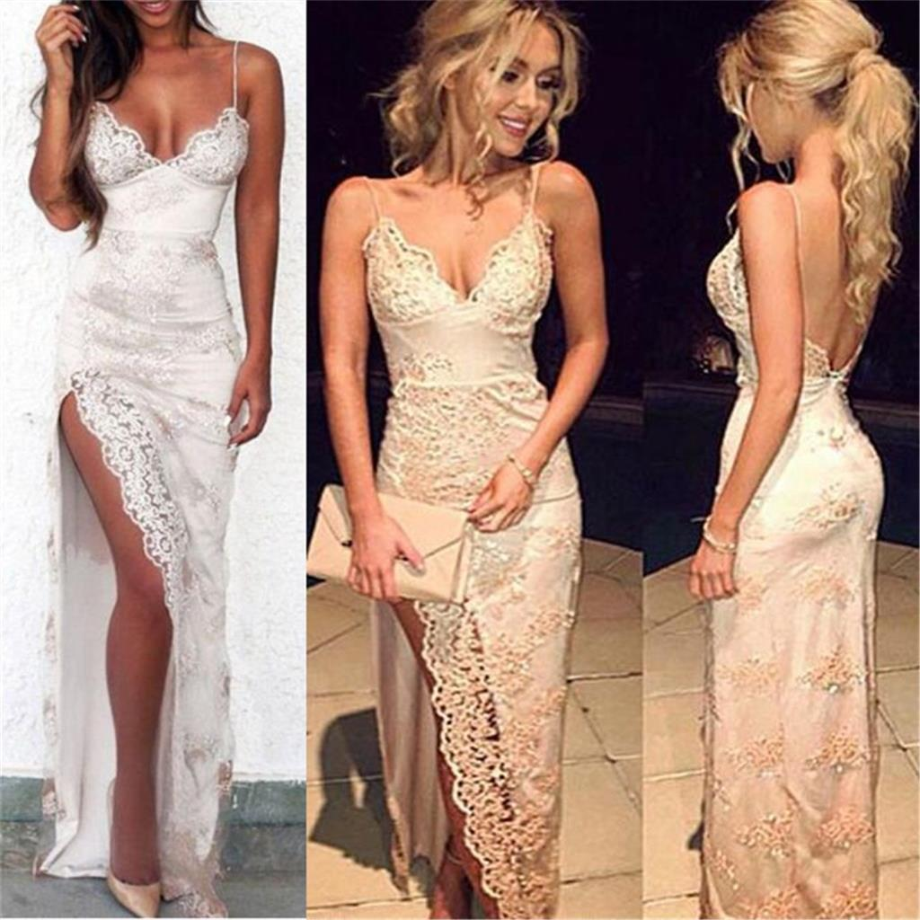 Charming Lace Sexy Spaghetti Straps Mermaid Side Slit Prom Dress, Evening Dress, PD0442