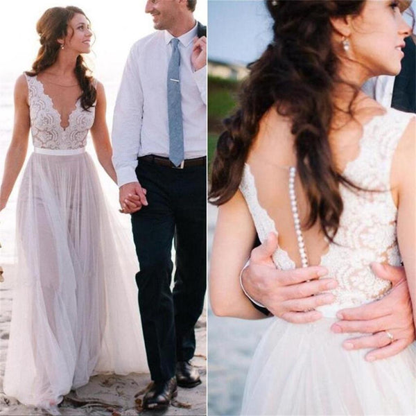New Arrival  Beach Elegant Most Popular Lace A Line  Tulle Wedding Dress, WD0099