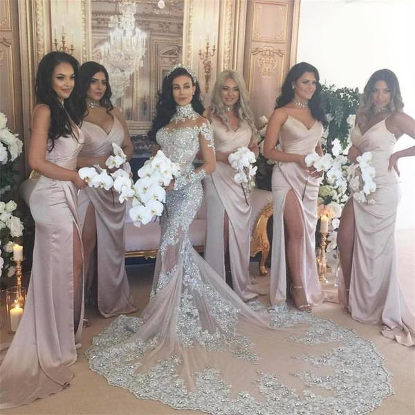 Long Sleeves High Neck Lace Popular Free Custom Wedding Dresses, Bridals Gowns With Train, WD0265
