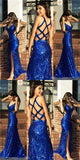Charming Sequin Sparkly Prom Dresses, Sexy Side Slit Formal Prom Dress, Evening Dress, PD0461 - SposaBridal