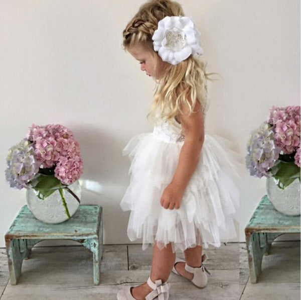 Tulle Lace Sleeveless Flower Girl Dresses, Lovely Tutu Dresses,  FGS002