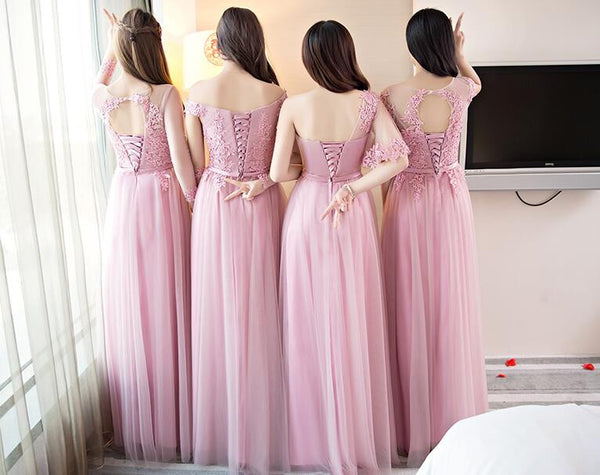 Tulle With Lace Appliques Custom Most Popular Bridesmaid Dresses, wedding guest dress, PD0344