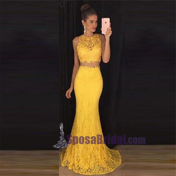 Two Pieces Yellow Lace Evening Prom Dresses, 2018 Long Prom Dress, Custom Prom Dresses, Cheap Formal Prom Dresses, PD0643
