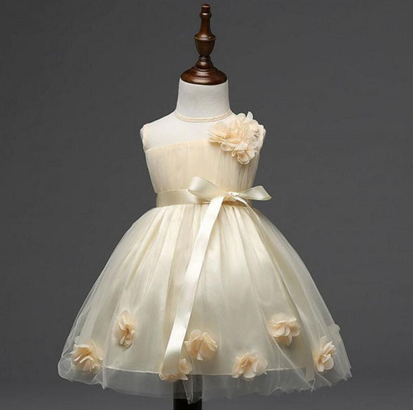 Lovely Beautiful Flower Girl Dresses, Weding Cheap Little Girl Dresses with Handmade Flowers, FGS020