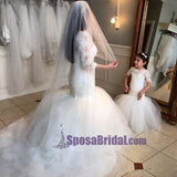 New Hot Selling  Custom Made Half Sleeves Floor Length Lace Mermaid Flower Girl Dresses, Junior Bridesmaid Dresses, FG114