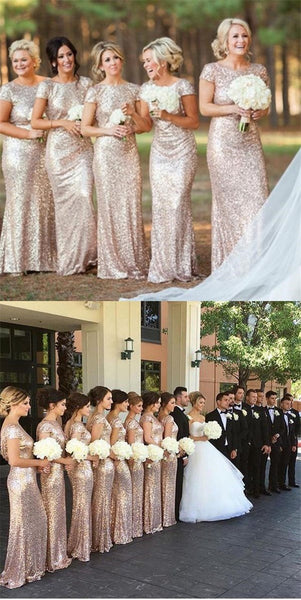 2019 Charming  Most popular mermaid short sleeves sequin long Bridesmaid Dresses, WG04 - SposaBridal