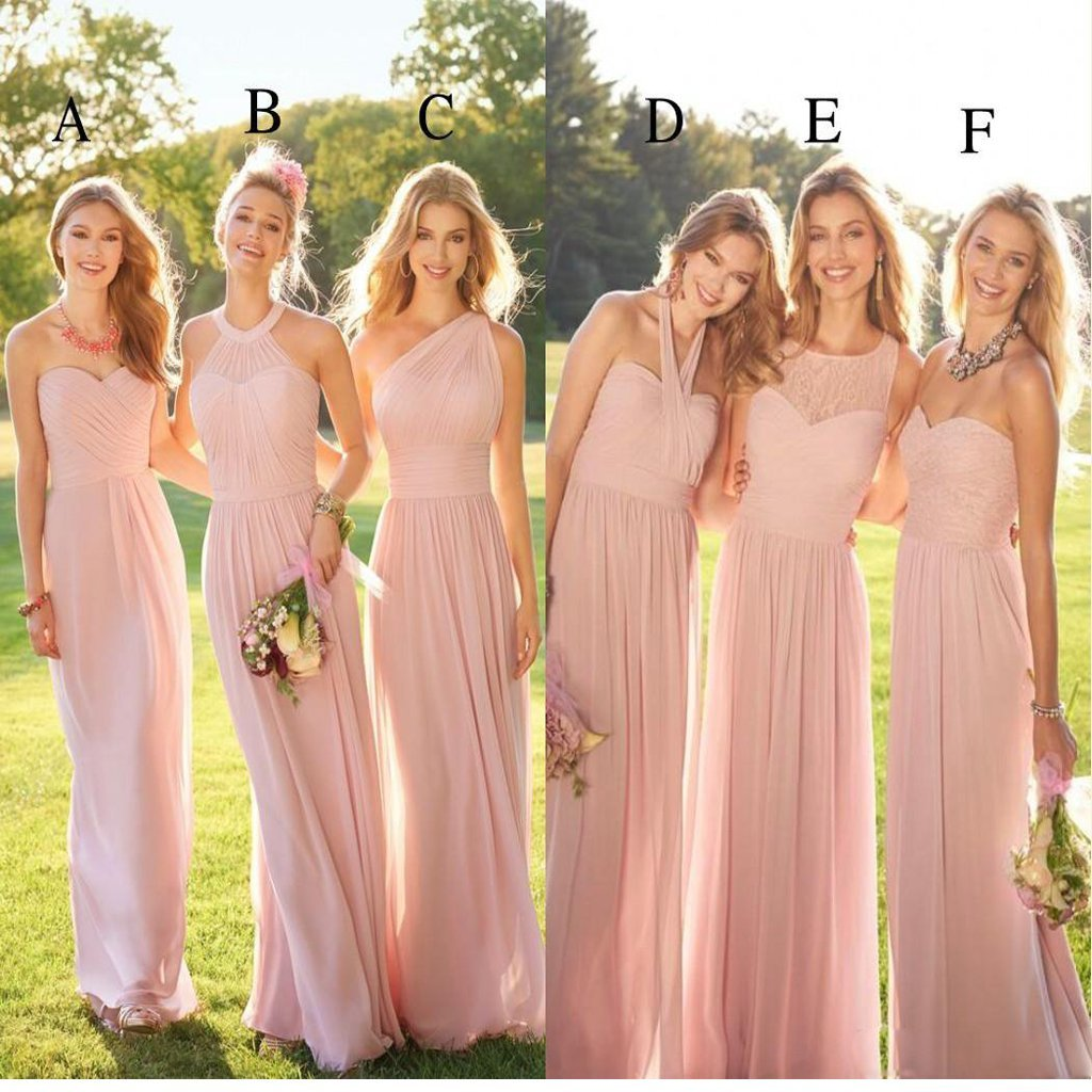 0c8db5a3ae2 2019 Pastel Pink Cheap Long Lace Chiffon Bridesmaid Dresses ...