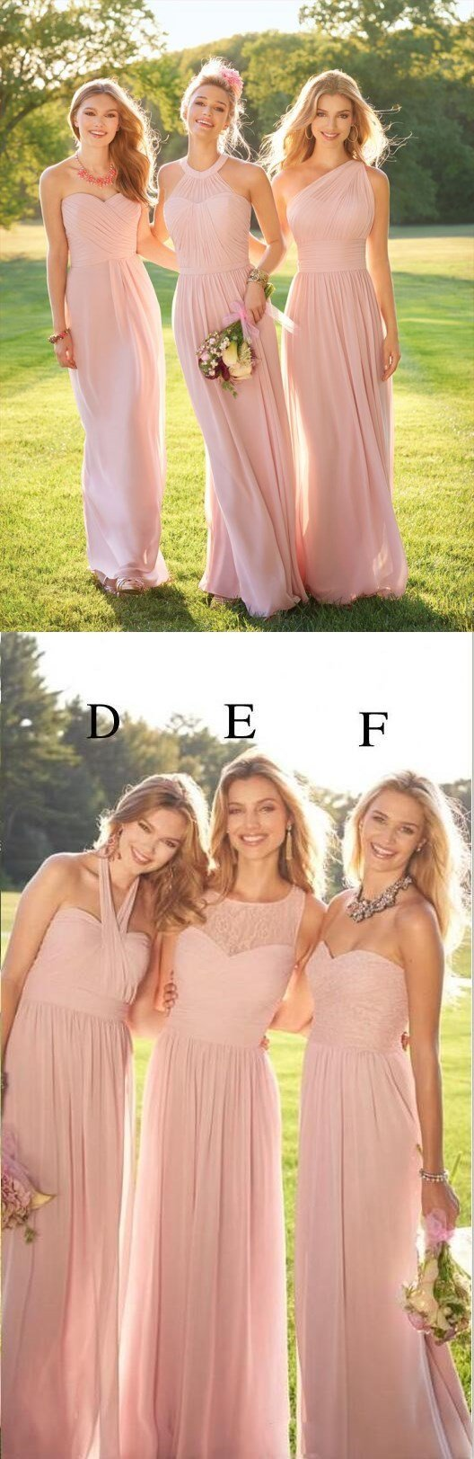 2018 Pastel Pink Cheap Long Lace  Chiffon Bridesmaid Dresses, Mismatched Popular Custom Bridesmaid Dress For Wedding Guest, WG247