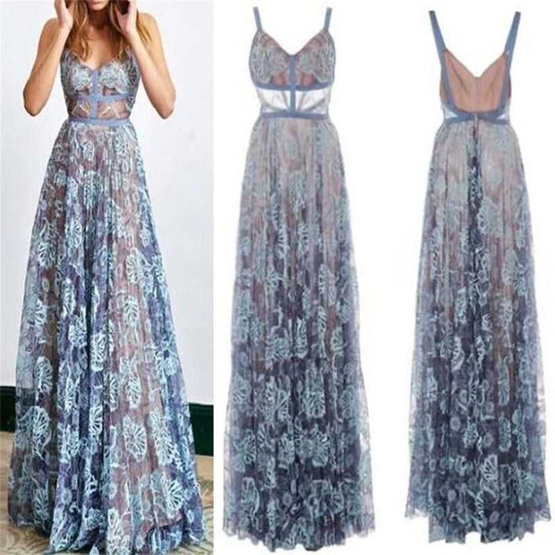 2018 Blue Lace Sexy Popular Prom Dresses, Fashion Party Dress, Spaghetti Straps Prom Dress,  PD0420