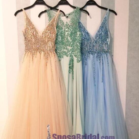 2019 Charming Shining Prom Dresses, V Neck Sequin Sparkly Gorgeous Green Blue Pink Prom Dresses, PD0628
