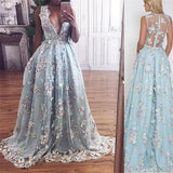 Custom Blue Lace Elegant Prom Dresses, V-Neck Party Dress, Formal Evening Dresses, PD0421