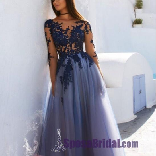 2019 Custom Formal Sexy Colorful Lace Long Sleeve Open Back  Long Evening Prom Dresses, PD0660 - SposaBridal