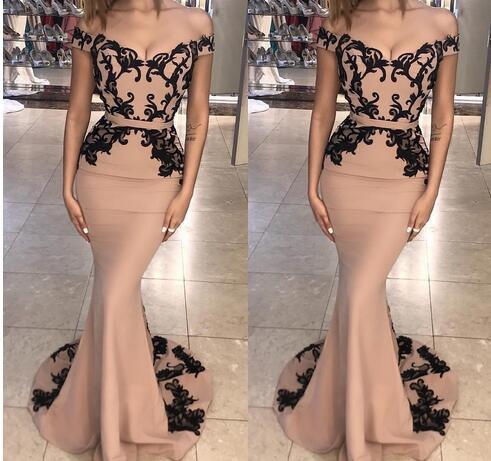 Off The Shoulder Lace Mermaid Long Prom Dresses, Sweep Train Formal Party Prom Evening Dresses, PD0332