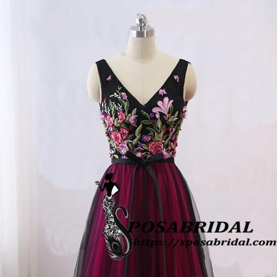 Long Black Women Evening Dress, Vintage Embellish Embroidery Floral Bridesmaid Dresses, WG320