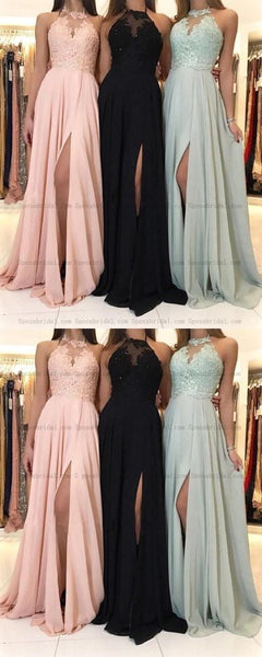 2019  Charming Lace Halter Long Chiffon Split Evening Gowns Formal Prom Dresses , PD0813 - SposaBridal