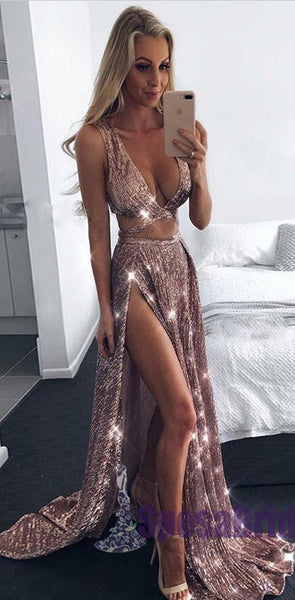 2020 A-Line Charming Sexy Sequin Sparkly Rose Gold and Black Split Prom Dresses, Evening dresses, PD0594