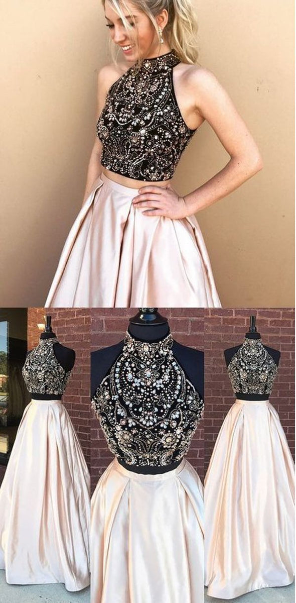 4b7ee5584517e 2020 Beading Two Pieces Sparkly Open Back Halt Prom Dresses, Popular ...