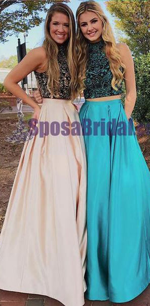 2020 Beading Two Pieces Sparkly Open Back Halt Prom Dresses, Popular Fashion Prom Dress for party,PD0669
